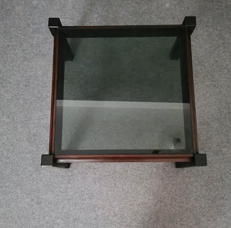 20th Century  Mid Century Coffee Table Rosewood Smoked Glass Wood Italian Design 1960s For Sale
