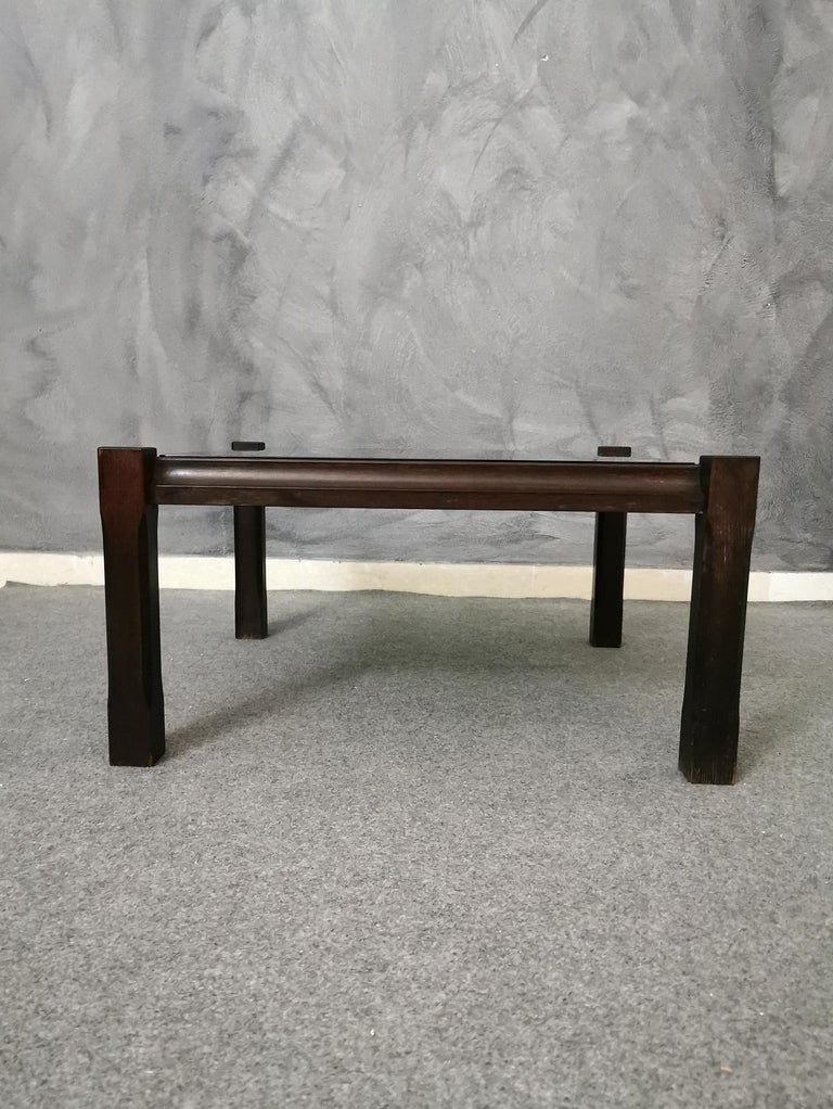 Mid Century Coffee Table Rosewood Smoked Glass Wood Italian Design 1960s For Sale 1
