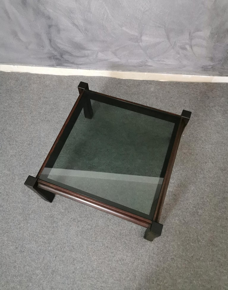 Mid Century Coffee Table Rosewood Smoked Glass Wood Italian Design 1960s For Sale 2