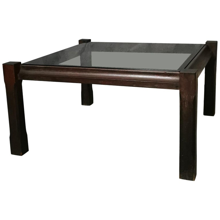 Mid Century Coffee Table Rosewood Smoked Glass Wood Italian Design 1960s For Sale