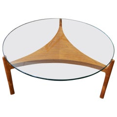Midcentury Coffee Table with Teak Base and Glass Top Designed by Sven Ellekaer