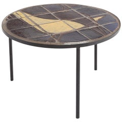 Mid-century Coffee Table with Black Steel Frame and Mosaic Inlay