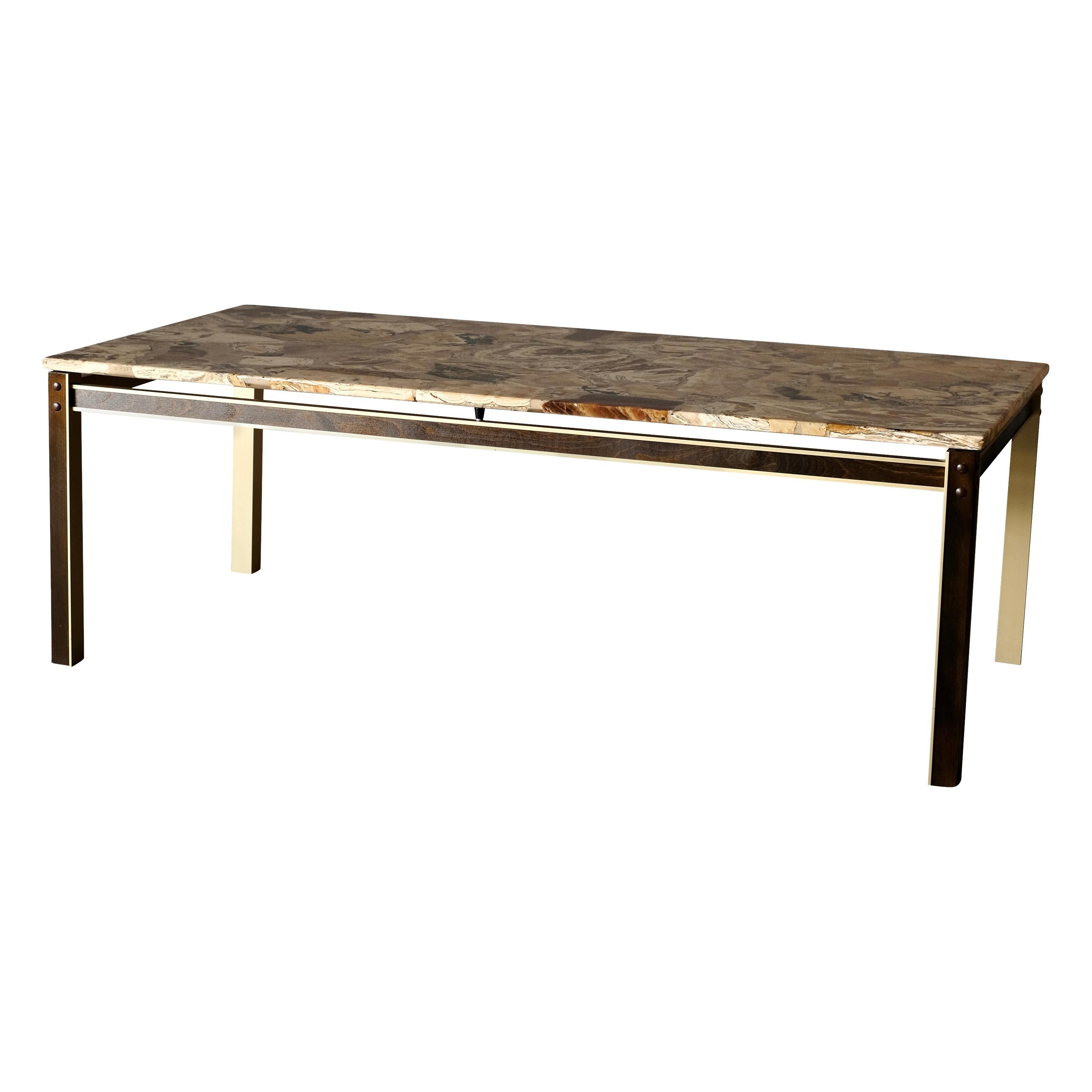 Midcentury Coffee Table with Marble Top