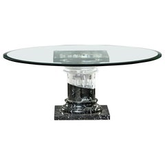 Midcentury Coffee Table with Unusual Marble and Lucite Base