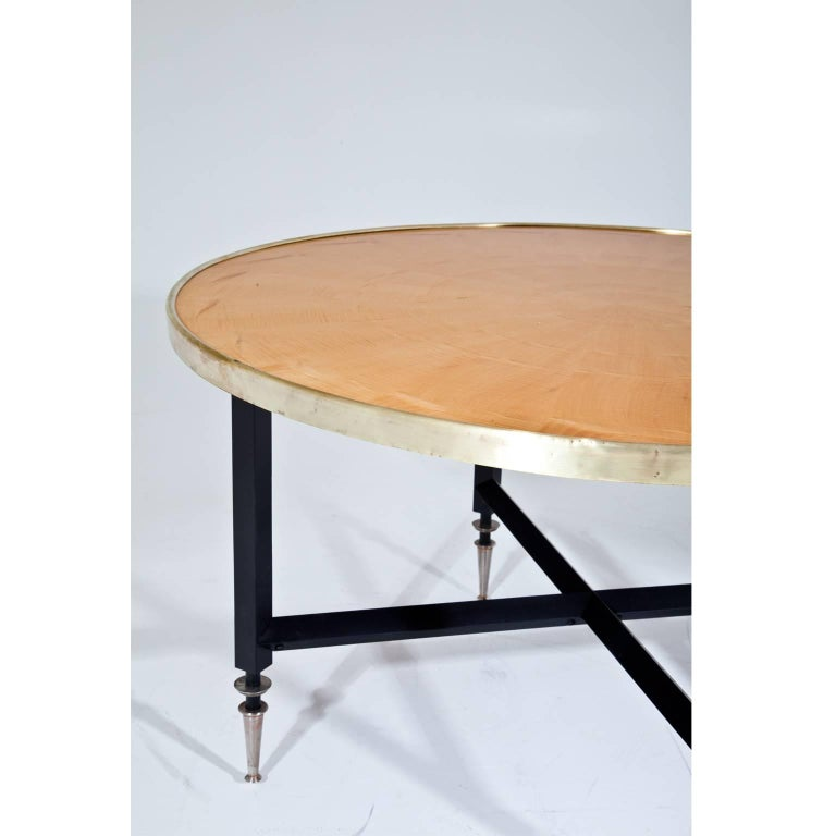 Italian Round Midcentury Coffee Table On Black Steel Base For