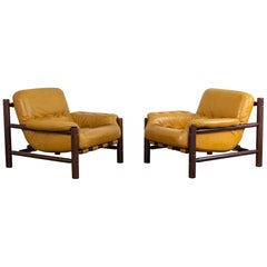 Midcentury Cognac Patched Leather Lounge Chairs by Jean Gillon, 1970s, Set of 2