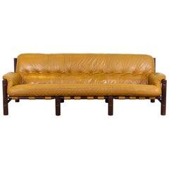 Midcentury Cognac Patched Leather Sofa, 1970s Vintage Sofa