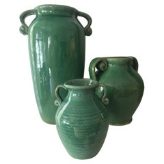 Midcentury Collection of Three Pottery Vases