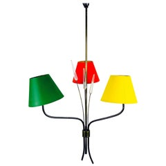 Midcentury Colorful Chandelier from Maison Lunel, 1950s