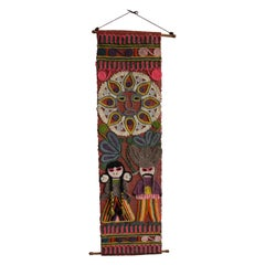 Midcentury Colorful Mexican Tapestry, Boho Style Wall Decoration, Makramee