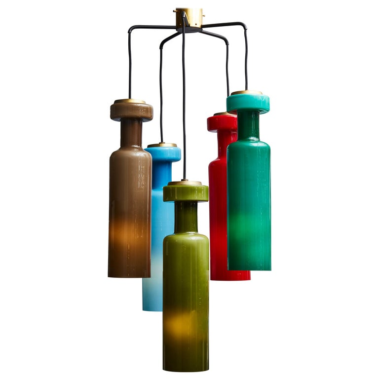 Midcentury Colorfull Suspended Glass Chandelier For Sale