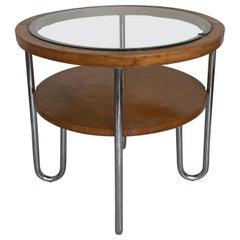 Mid Century Columbus Mobili Razionali Round Table with Glass Top, Milano, 1950s