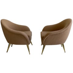 Mid-century Compact Cream Armchairs with Brass Legs, Italy, circa 1950s