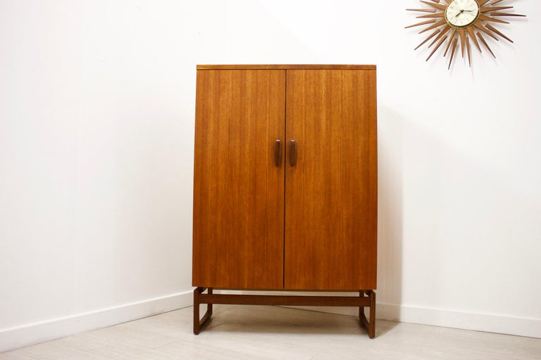 British Midcentury Compact Tallboy Quadrille Wardrobe from G Plan, 1960s