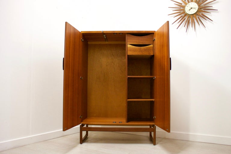Midcentury Compact Tallboy Quadrille Wardrobe from G Plan, 1960s In Good Condition In South Shields, Tyne and Wear