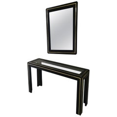 Midcentury Console and Mirror in Black Lacquered Wood, Glass, Italy, 1960s
