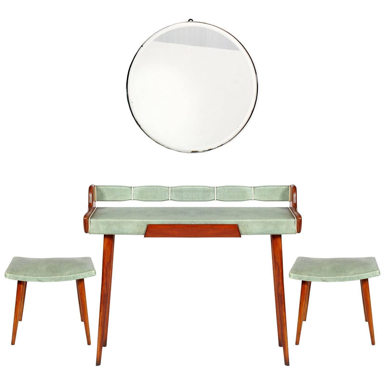 Midcentury Console & Round Beveled Mirror with Stools,  by Osvaldo Borsani