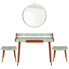Midcentury Console, Attributed Osvaldo Borsani Round Beveled Mirror, Two Stools