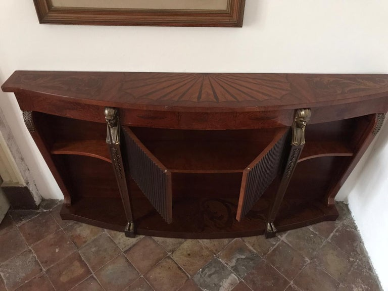 Veneer Mid Century Console Table Return from Egypt Style For Sale