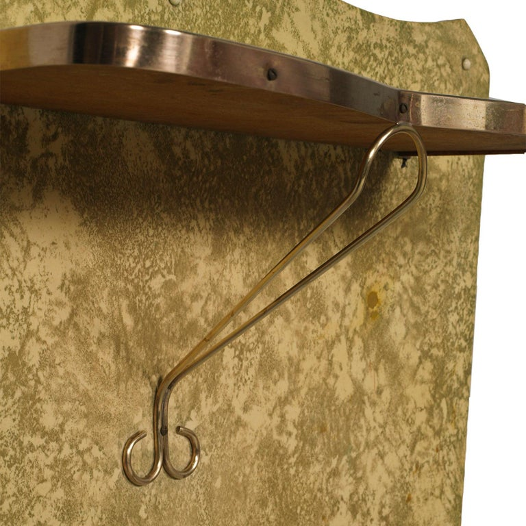 Mid-Century Modern Midcentury Console in Gilded Brass and Plasticized Fabric Brugnoli Mobili Cantù For Sale