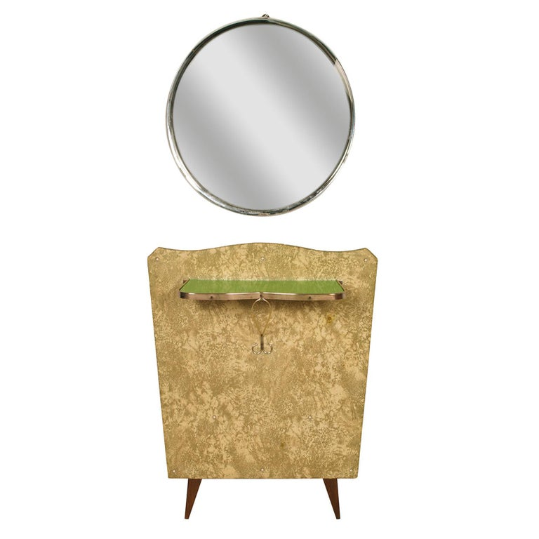 Italian Midcentury Console in Gilded Brass and Plasticized Fabric Brugnoli Mobili Cantù For Sale