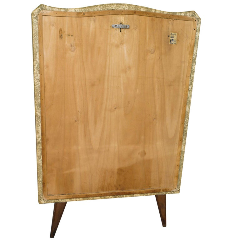 Gilt Midcentury Console in Gilded Brass and Plasticized Fabric Brugnoli Mobili Cantù For Sale