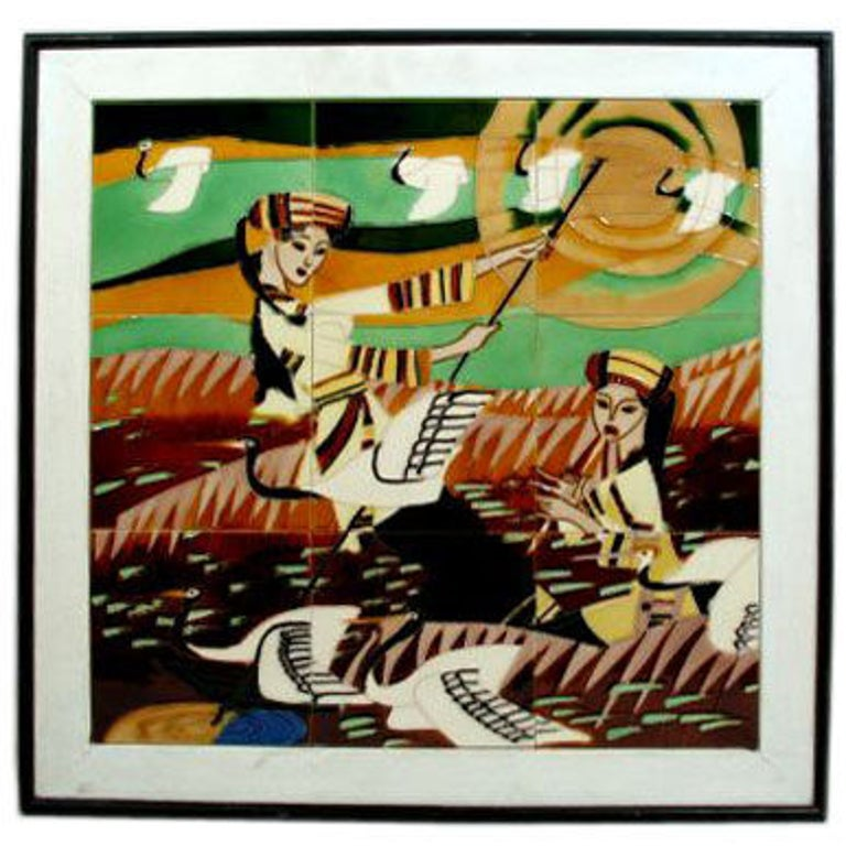 #5-3020a ceramic plaque displayed in a black wood frame nine panel's ceramic tile art piece with two women playing musical instruments and large birds in flight  1950's stunning hand painted work of art in glazed ceramics.