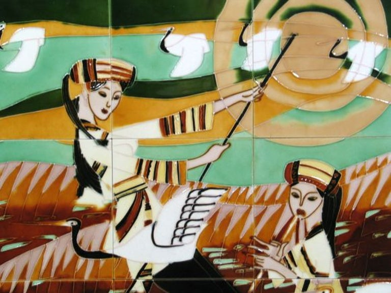 Mid Century Contemporary Ceramic Tile Mosaic Panel In Good Condition For Sale In Douglas Manor, NY