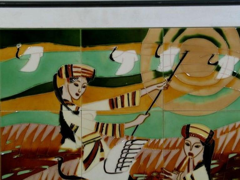 Mid Century Contemporary Ceramic Tile Mosaic Panel For Sale 1