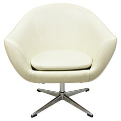 Midcentury Contemporary Shells Inc Overman White Vinyl Swivel Lounge Pod Chair