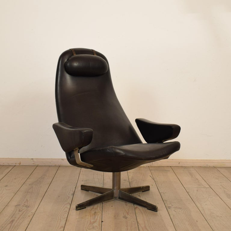 Midcentury Contourette Roto Armchair by Alf Svensson for DUX, 1960 For Sale 1