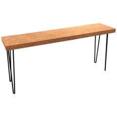 Midcentury Cork and Iron Console Table