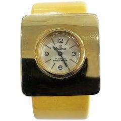 Mid Century Corn yellow bakelite watch by Lausanne