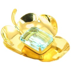 Mid-Century Corocraft Gilded Sterling & Aqua Glass Stone Brooch, 1940s