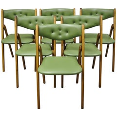 Midcentury Coronet Wonderfold Norquist Green Vinyl Folding Chairs, Set of 6