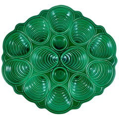 Midcentury Cote D'azur French Provençal Emerald Green Majolica Seafood Platter