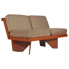 Midcentury Craftsman Modern Plywood Loveseat or Sofa after Frank Lloyd Wright