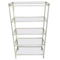 Midcentury Cream and Gold Metal Shelving Units, Italian, 1980s