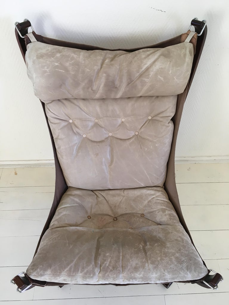20th Century Midcentury, Cream White, Falcon Chair by Sigurd Resell for Vatne Mobler, 1970s For Sale