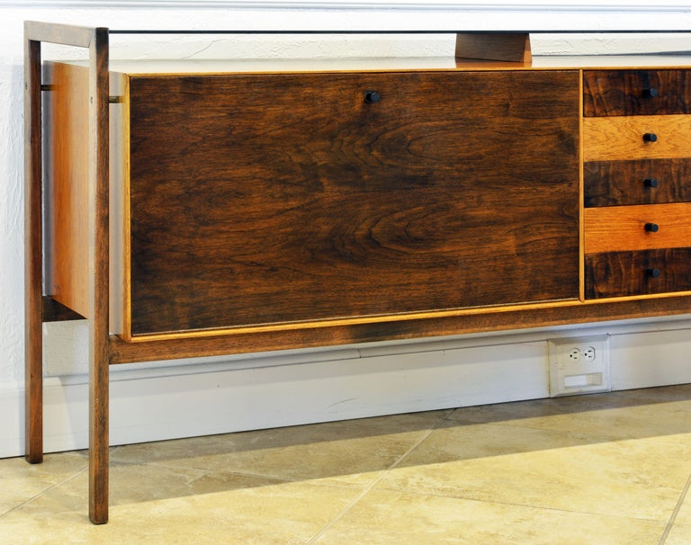 Mid-Century Modern Midcentury Credenza with Bar Floating Glass Top and Checker Board Drawer Front