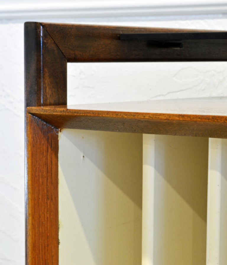 Brass Midcentury Credenza with Bar Floating Glass Top and Checker Board Drawer Front