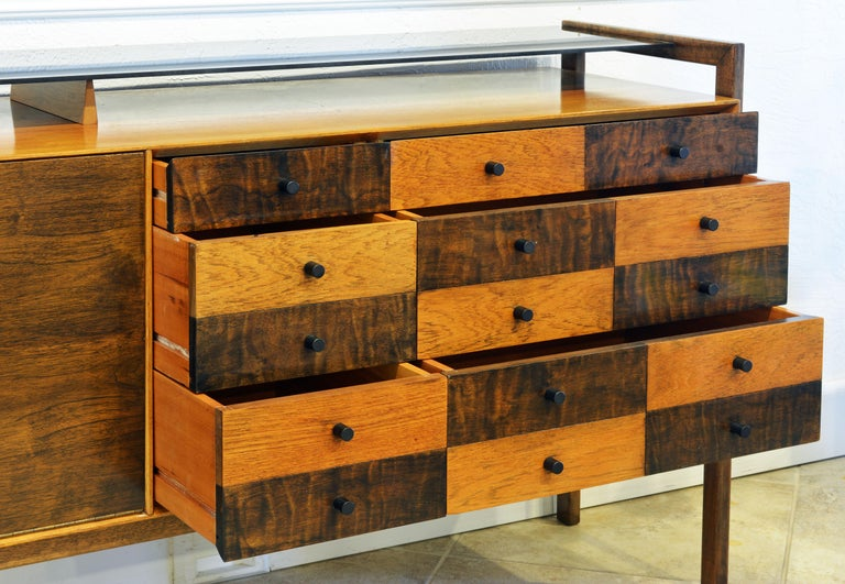 Midcentury Credenza with Bar Floating Glass Top and Checker Board Drawer Front 1