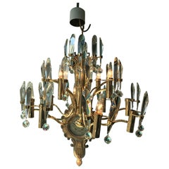 Midcentury Crystal and Gilded Brass Chandelier by Gaetano Scoliari, 1970s