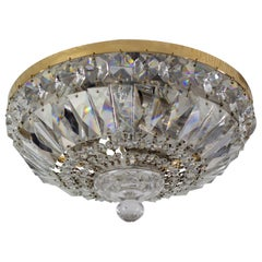 Mid-century Crystal and Glass Three-Light Basket Flush Mount Ceiling Fixture
