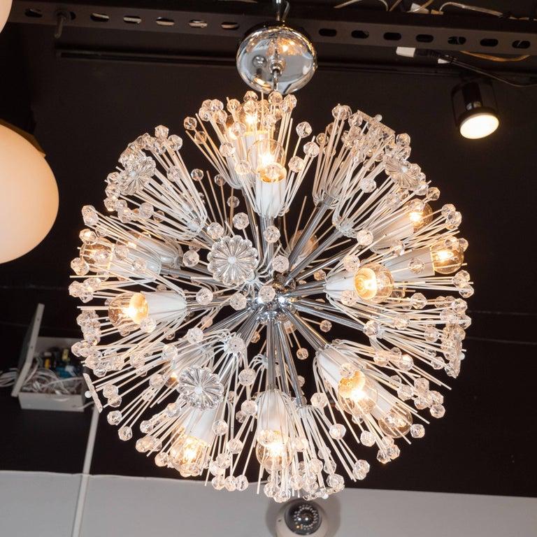 Enamel Midcentury Crystal Sputnik Chandelier by Emil Stejnar for Rupert Nikoll For Sale