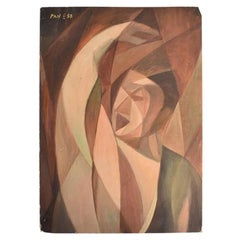 Mid Century Cubist Geometric Figurative Oil Painting on Card of Woman