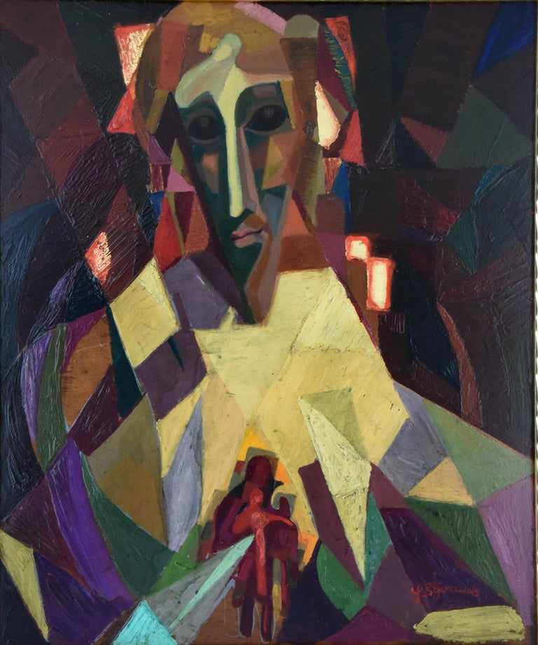 Midcentury Cubist portrait by the French artist Louis Giraud, signed and dated 1950 in a gold leaf frame. The colorful work has golden details and is painted on a wooden panel. Size of the frame: H. 61.5 cm x L. 52.5 cm. x W. 2.2 cm. H. 24.2 inch