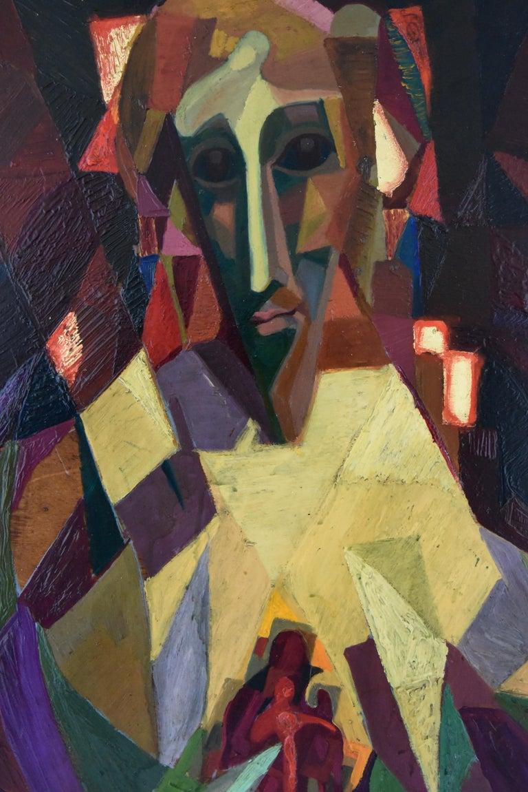 Mid-Century Modern Midcentury Cubist Oil Painting Portrait Louis Giraud, 1950 For Sale