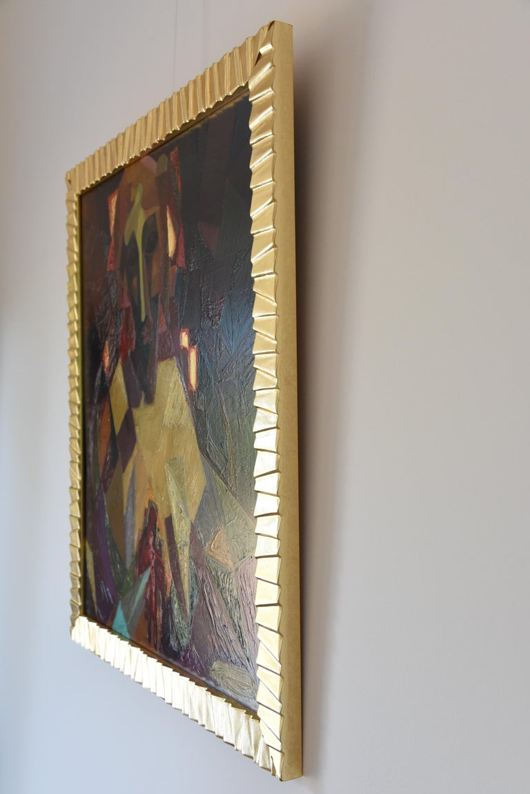 Midcentury Cubist Oil Painting Portrait Louis Giraud, 1950 In Good Condition For Sale In Antwerp, BE