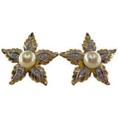 Midcentury Cultured Pearl Flower Earrings in Yellow Gold, Platinum and Diamonds